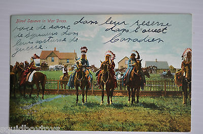 - BLOOD SQUAWS in WAR DRESS Postcard 1950s Native American - Indian -