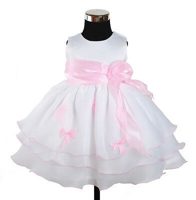 New Baby Girls White and Pink Bows Party Pageant Dress 6-9 Months