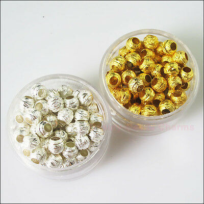 15 New Charms Gold Silver Plated Copper Round Ball Spacer Beads 8mm