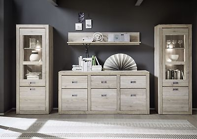 wohnwand mit 2 vitrinen ancona oak glas holz sideboard modern neu woody 16 00672 eur 779 00. Black Bedroom Furniture Sets. Home Design Ideas
