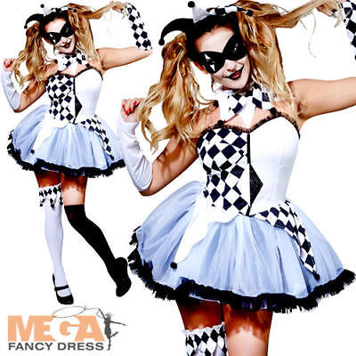 Scary Harlequin Jester Ladies Fancy Dress Halloween Womens Adults Circus Costume