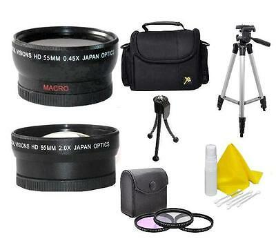 Accessory Kit (Wide, Tele, Tripod, Bag, Filters) For Sony FDR-AX53 Camcorder