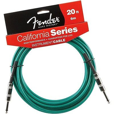 Fender California Series 20 Ft Guitar Instrument Cable in Surf Green - NEW