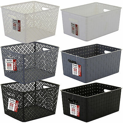 Storage Basket Plastic Crate School Office Kitchen Pharmacy Tidy Organiser Handy