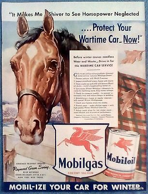 1942 Mobilgas Oil Horse Plaid Blanket Protect Wartime Car Now Fall Leaves ad