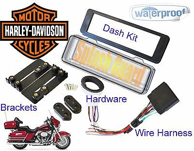 Mount Radio Stereo Install Dash Kit Harness SPLASHGUARD Fit HARLEY DAVIDSON FLHT