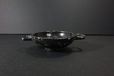 *Aphrodite Gallery* ANCIENT GREEK BLACK-GLAZED FOOTED CUP WITH FLORAL DESIGN