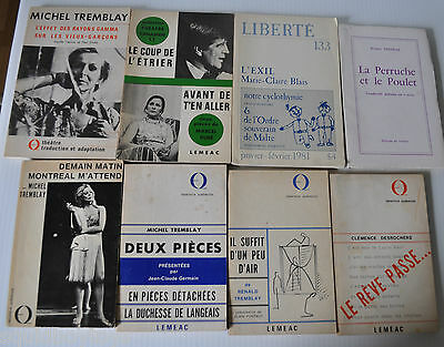 lot of 8 POETRY / PLAY BOOKS Quebec Canada CLEMENCE DESROCHER/MICHEL TREMBLAY