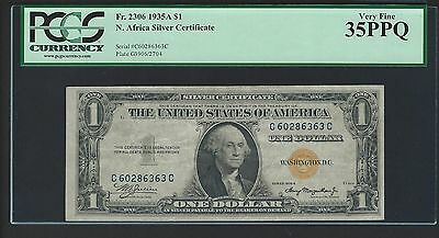1935A $1 North Africa Yellow Seal Note PCGS VERY FINE 35 PPQ