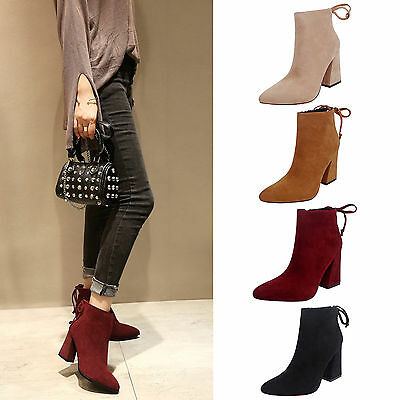 Fashion Ladies Women Block High Heel Ankle Boots Platform Pop Pointed Toe Shoes