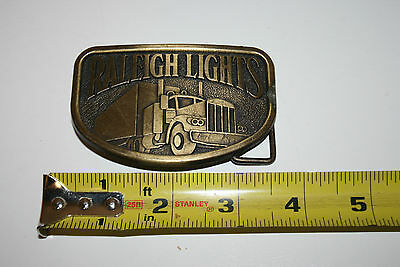 Wow Old Vintage Raleigh Lights Brass Belt Buckle Semi Freightliner Trucking