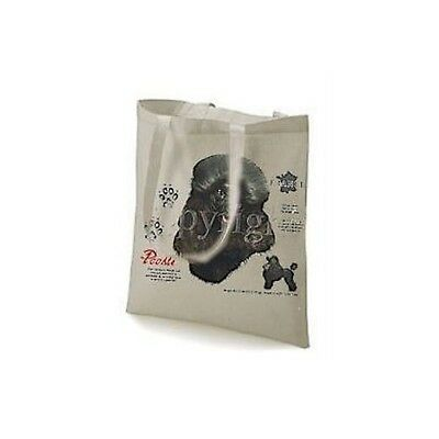 Black Poodle History Printed Design Tote Shopping Bag