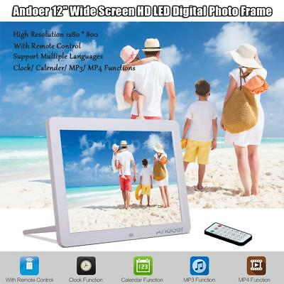 "12""inch HD LED Digital Photo Frame Picture Album MP4 Movie Player Calendar White"