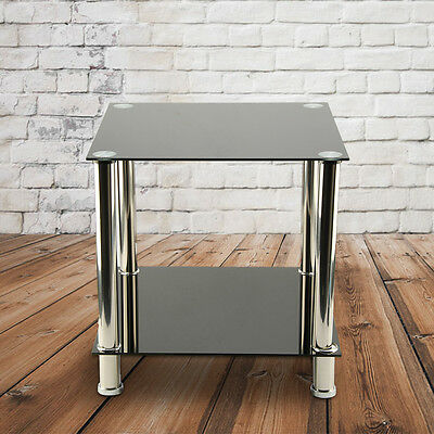 Black 2-Tier Glass & Stainless Steel Small Display Stand Side Lamp Coffee Table