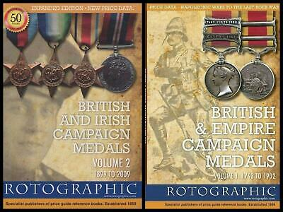 British Irish & Empire Campaign Medals 1793 To 2009 Volume 1 and 2 Price Book