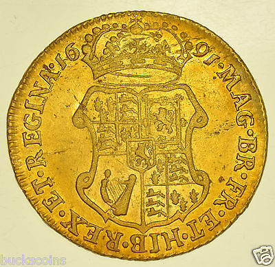 Rare 1691 Guinea, Elephant & Castle, British Gold Coin From William & Mary Gvf