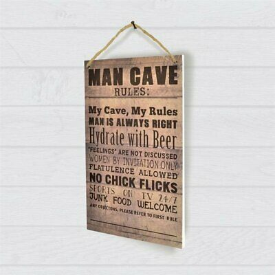 Men's Wooden Novelty Man Cave Rules Wall Plaque Sign Gift Present