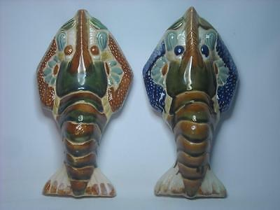 TWO 2 LOBSTER WALL POCKETS - Unmarked Decorative Fun Pottery