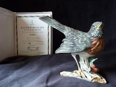 KAISER Porcelain LARGE Robin on Branch HP Bisque 502 Ltd. Ed. #180/1500 COA