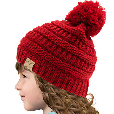cc0175136f7 Kids CC Ages 2-7 PomPom Chunky Thick Stretchy Knit Slouch Beanie Cap Hat