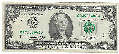 Series 1976 Two Dollar USA Federal Reserve Note Bill G 43905042 A Jefferson Circ