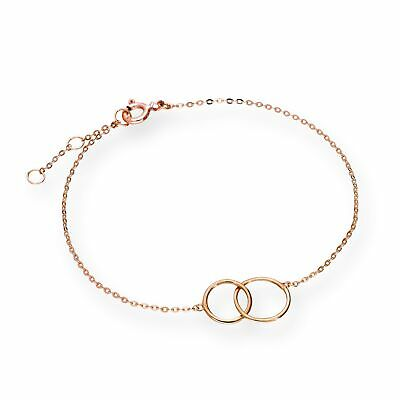 Real 375 9ct Rose Gold 7 Inch Karma Circles Bracelet Infinity Eternity Forever