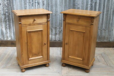 Pair Of Pine Bedside Cabinets With Single Cupboard And Drawer Two Lamp Tables