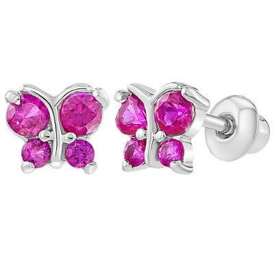 Rhodium Plated Hot Pink CZ Butterfly Screwback Infants Baby Girls Earrings