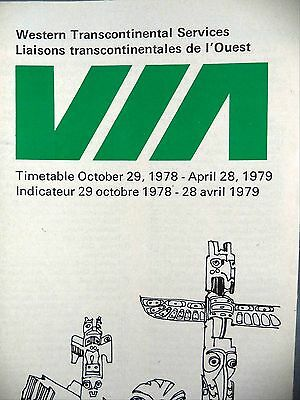 VIA Rail Timetable Western Transcontinental Services 1978 1979 Railway Trains