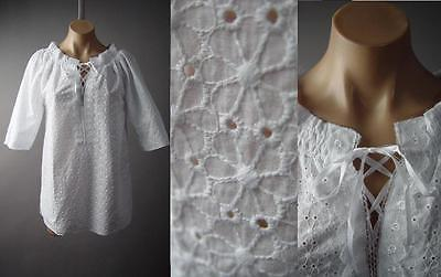 White Daisy Eyelet Embroidered Lace Up Neck Boho Peasant Top 129 mv Blouse S M L