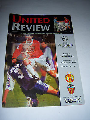 MANCHESTER UNITED v VALENCIA CF 1999/2000 - CHAMPIONS LEAGUE - PROGRAMME