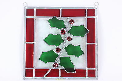 Christmas Holly Berry Red Green Stained Leaded Glass Window Hanging Decor 8 3/8""