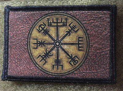 VIKING Compass Morale Patch Raven Tactical Military Army Badge Hook Flag