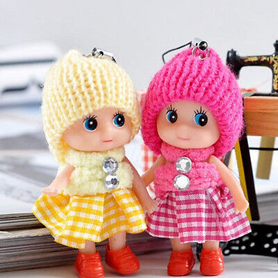 2x Soft Baby Dolls Expression Mini Doll Cell Phone Keychain Toy Xmas Girl Gift *