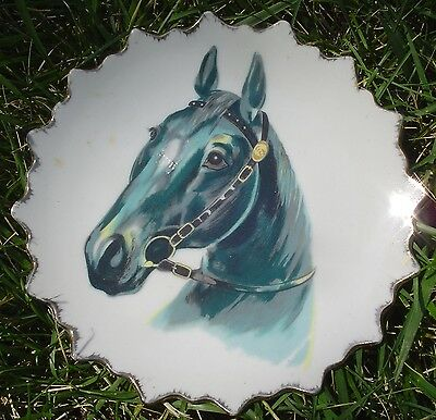 VINTAGE Collectible Decorative HORSE PLATE ~ 7inch GOLD PLATED