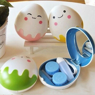 Portable CUTE Egg Contact Lenses Case Box Storage Holder Container Travel Kit AL