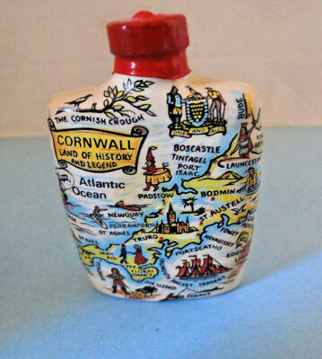 McLech British Cream Sherry Miniature Liquor Bottle Map of Cornwall Engand