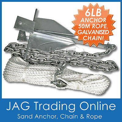BOAT ANCHORING KIT- 6lb / 3kg Sand Anchor, 2M Galvanised Chain, 50M x 6mm Rope