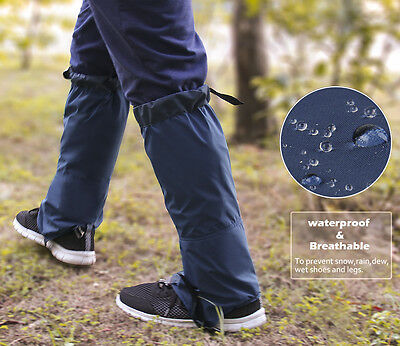 Blue Waterproof Windproof Gaiters Leg Cover Protection Guard Skiing Hiking New