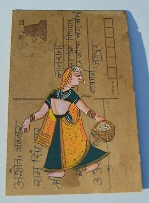 A Lovely Old Rajasthan Miniature Painted Indian Postcard Of A Indian Woman