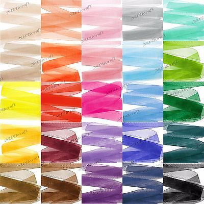 Woven Edge Sheer Organza Ribbon - 6mm 10mm 16mm 25mm 38mm 50mm Various Colours
