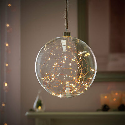 20Cm Indoor Glass Hanging Christmas Bauble Ball Copper Fairy String Led Light