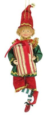"""8"""" Attractive Christmas Holiday Hanging Ornament Elf E40804"""