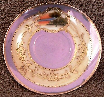 "Vintage Glassware--""3 1/2"" Sunset Mural Dish"" Japan--Very Nice & Collectible!"