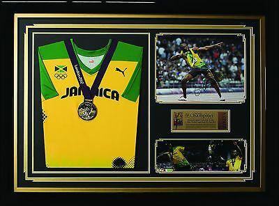 Signed Usain Bolt Photo & Team Issued Olympic Shirt & Medal Framed Display
