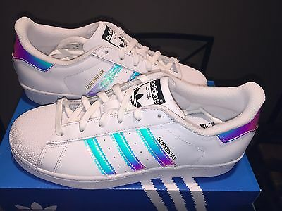 Adidas Superstar  Classic Originals White Silver Hologram AQ6278 3.5Y-7Y