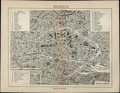 Brussels Belgium 1879 antique detailed city plan map