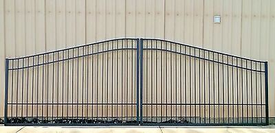 Aluminum Driveway Entry Gate 18 Ft Wide Dual Swing, Residential Home Security