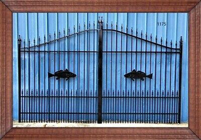 Custom Built Steel - Iron Driveway Entry Gate 12 Ft Wide Dual Swing Residential