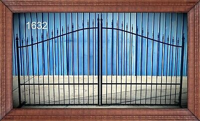 Ornamental Iron Driveway Entry Gate 11 Ft Wide Dual Swing, Fencing, Handrails.